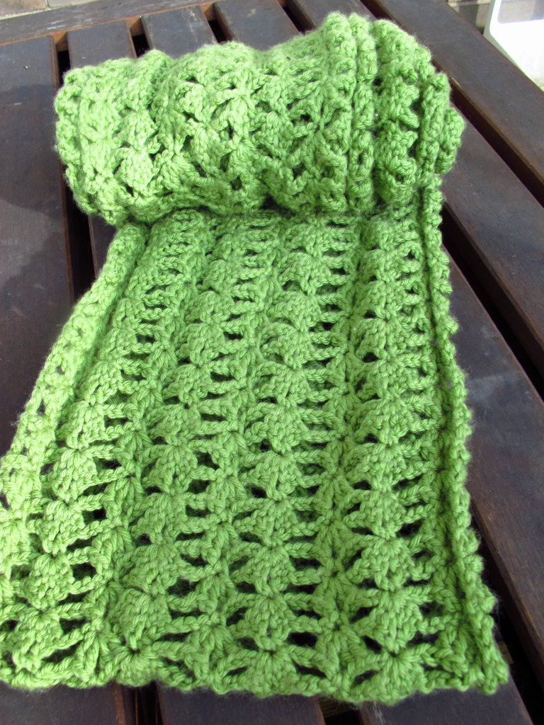 Free Patterns To And Crochet Infinity Scarf : DIY: Crocheted Lacy Green Infinity Scarf Pattern Kiku Corner