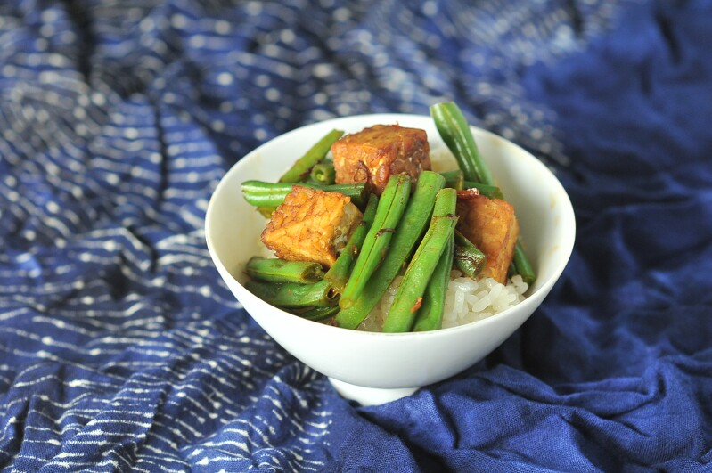 Green Beans and Tempeh in XO Sauce