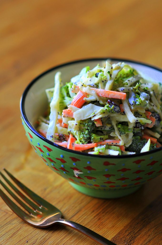 Cabbage and Broccoli Slaw with Creamy Poppyseed Dressing